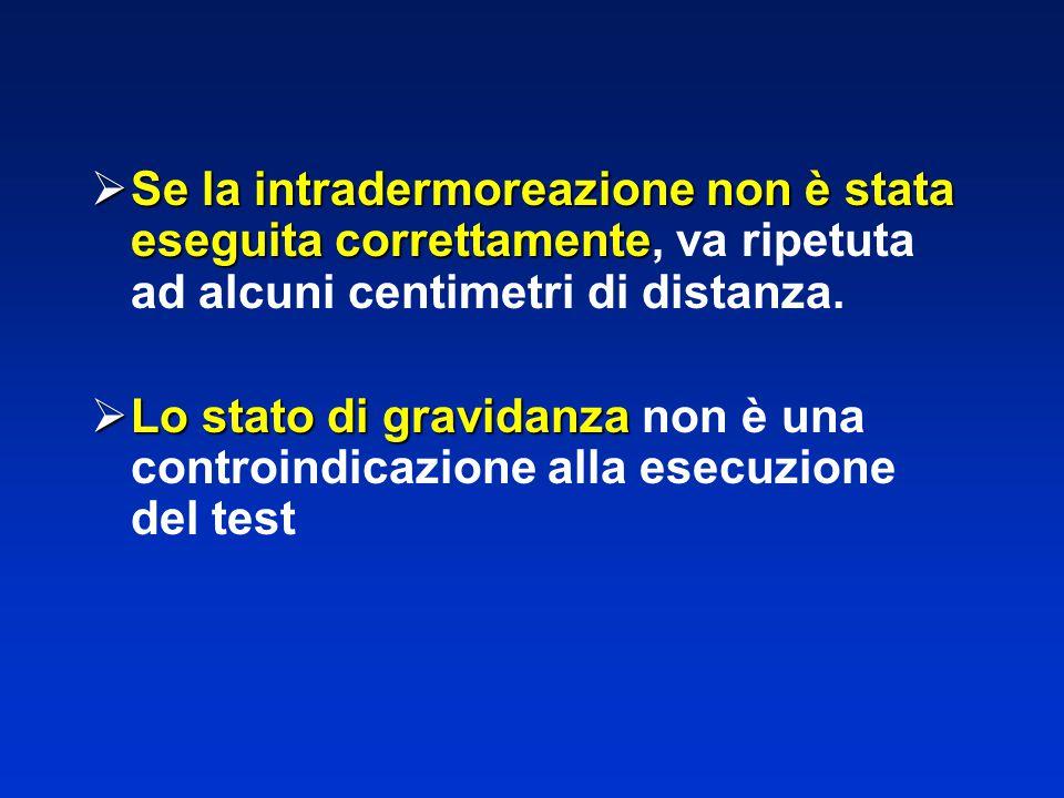 Se la intradermoreazione non è stata eseguita correttamente, va ripetuta ad alcuni centimetri di distanza.