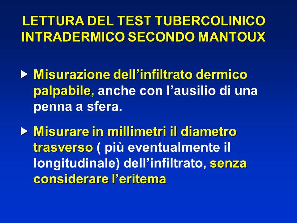 LETTURA DEL TEST TUBERCOLINICO INTRADERMICO SECONDO MANTOUX