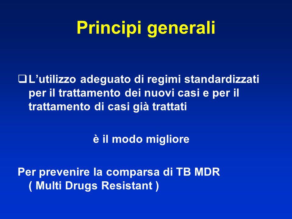 Principi generali L'utilizzo adeguato di regimi standardizzati per il trattamento dei nuovi casi e per il trattamento di casi già trattati.