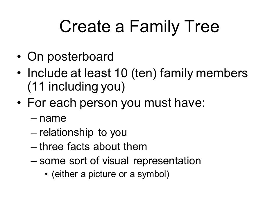 Create a Family Tree On posterboard