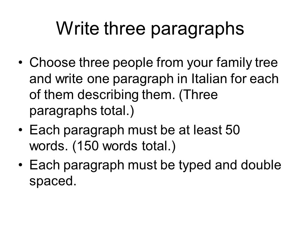 Write three paragraphs