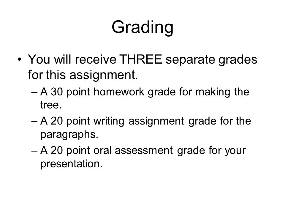 Grading You will receive THREE separate grades for this assignment.