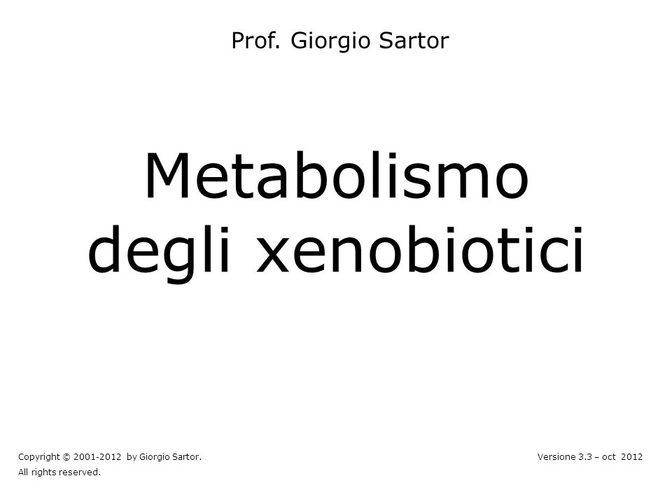 Metabolismo degli xenobiotici