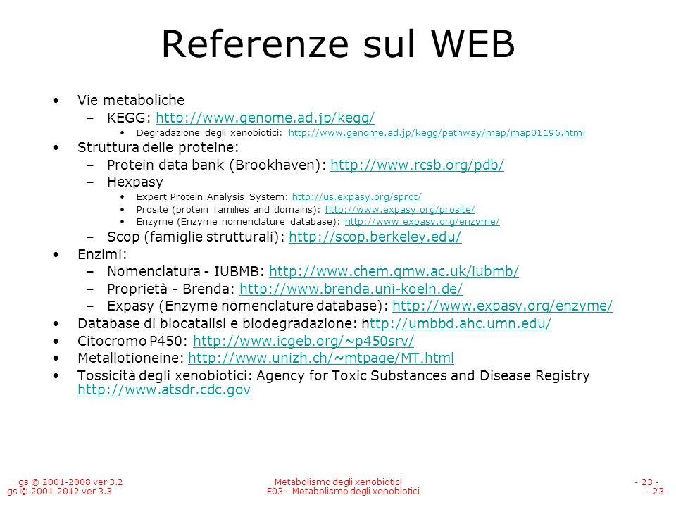 Referenze sul WEB Vie metaboliche KEGG: http://www.genome.ad.jp/kegg/