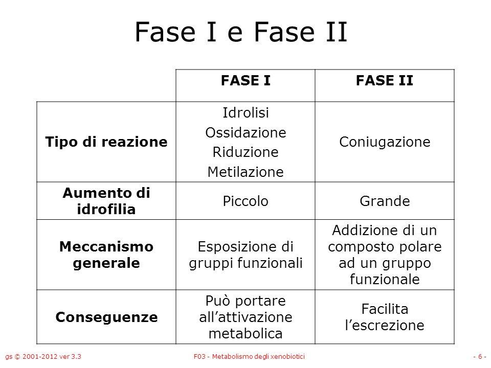 Fase I e Fase II FASE I FASE II Tipo di reazione Idrolisi Ossidazione