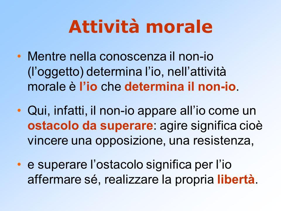 Attività morale Mentre nella conoscenza il non-io (l'oggetto) determina l'io, nell'attività morale è l'io che determina il non-io.