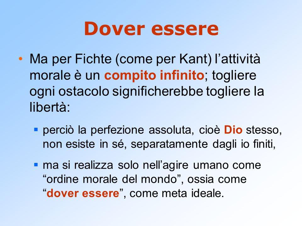 Dover essere Ma per Fichte (come per Kant) l'attività morale è un compito infinito; togliere ogni ostacolo significherebbe togliere la libertà: