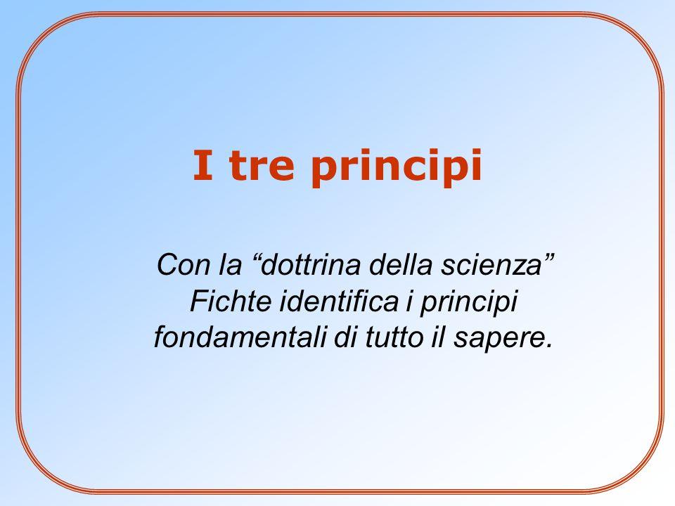 I tre principi Con la dottrina della scienza Fichte identifica i principi fondamentali di tutto il sapere.