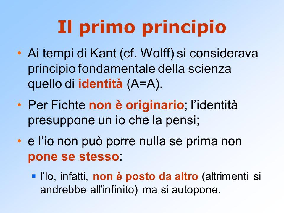 Il primo principio Ai tempi di Kant (cf. Wolff) si considerava principio fondamentale della scienza quello di identità (A=A).