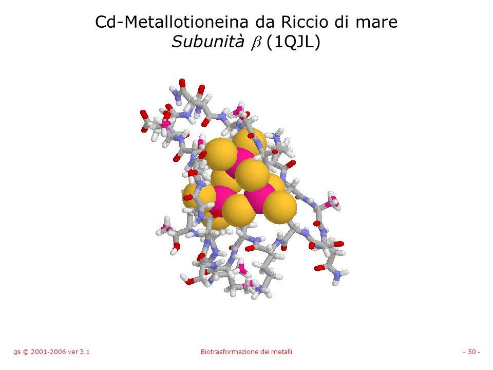 Cd-Metallotioneina da Riccio di mare Subunità b (1QJL)