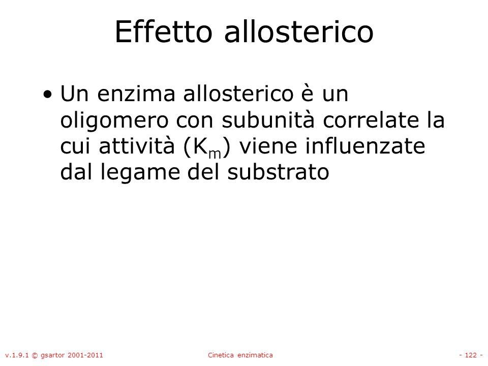 Effetto allosterico Un enzima allosterico è un oligomero con subunità correlate la cui attività (Km) viene influenzate dal legame del substrato.