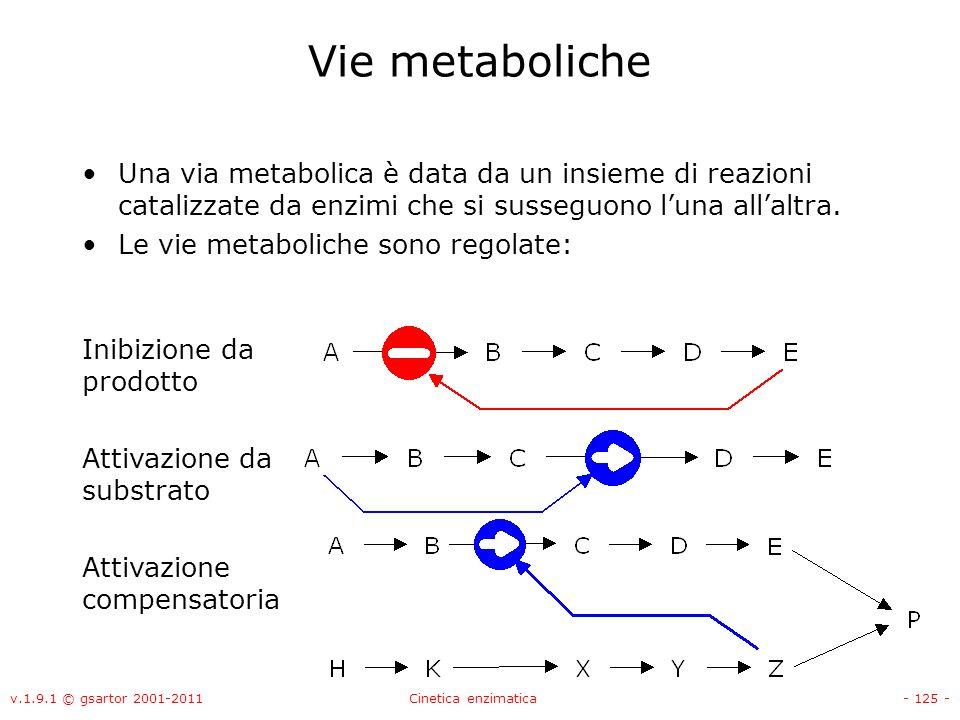 Vie metabolicheUna via metabolica è data da un insieme di reazioni catalizzate da enzimi che si susseguono l'una all'altra.