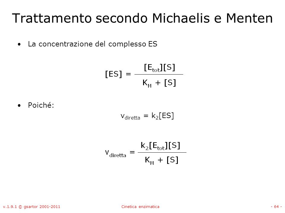 Trattamento secondo Michaelis e Menten