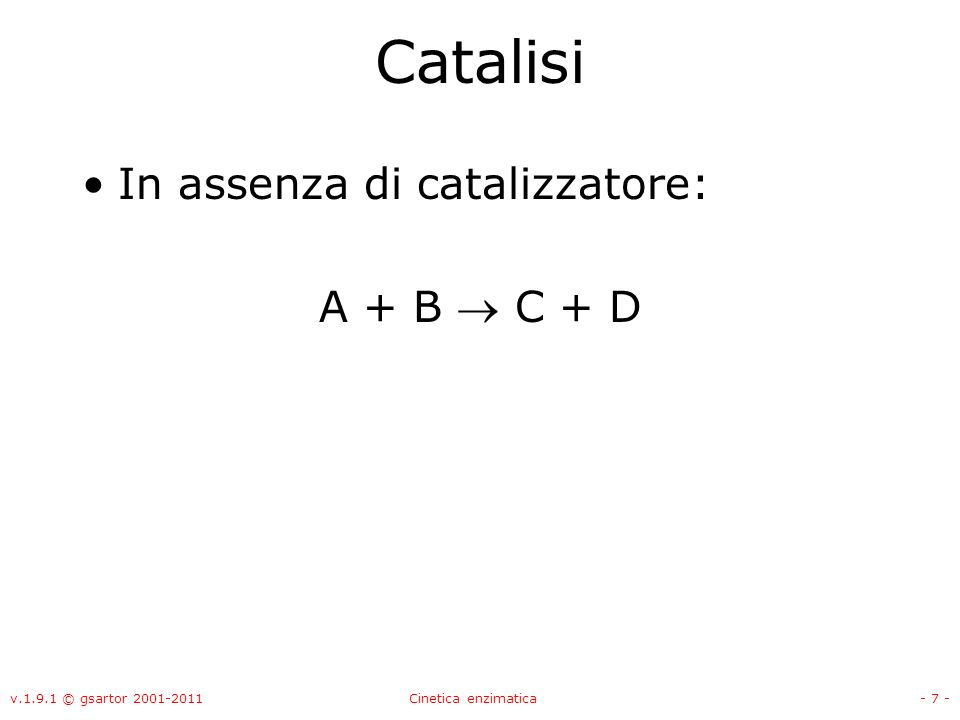 Catalisi In assenza di catalizzatore: A + B  C + D
