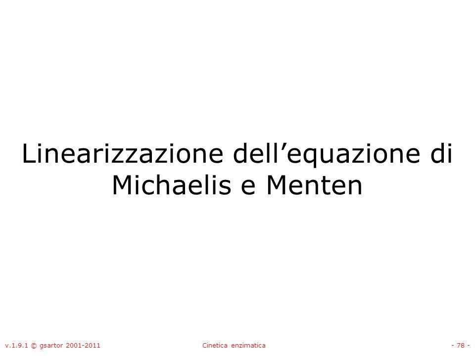 Linearizzazione dell'equazione di Michaelis e Menten