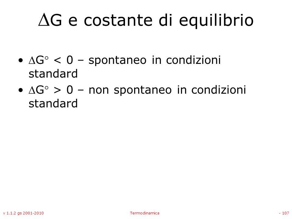 G e costante di equilibrio