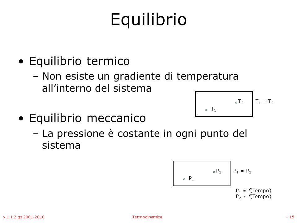 Equilibrio Equilibrio termico Equilibrio meccanico