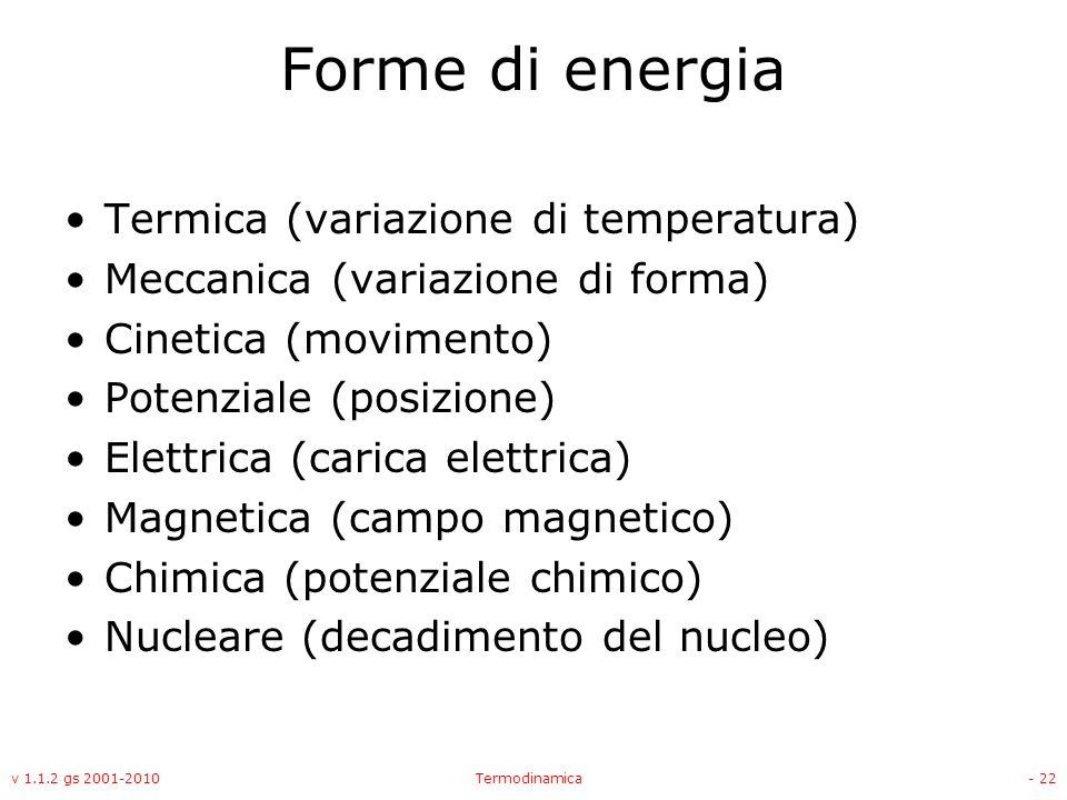Forme di energia Termica (variazione di temperatura)