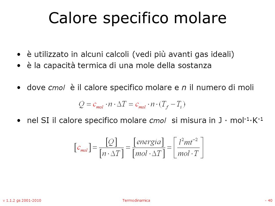 Calore specifico molare