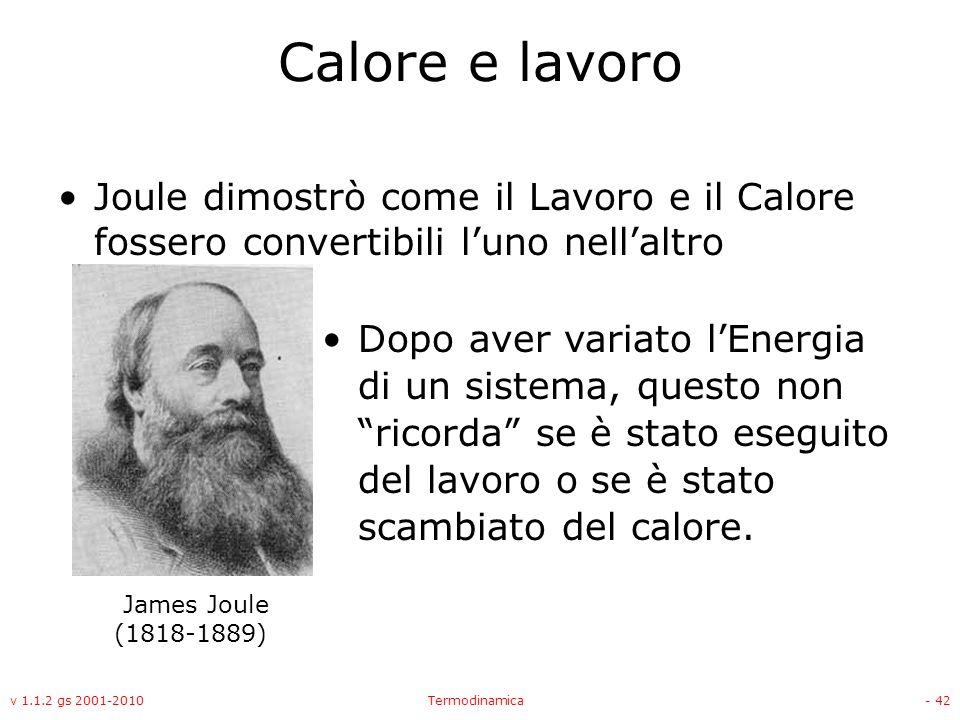 Calore e lavoro Joule dimostrò come il Lavoro e il Calore fossero convertibili l'uno nell'altro.