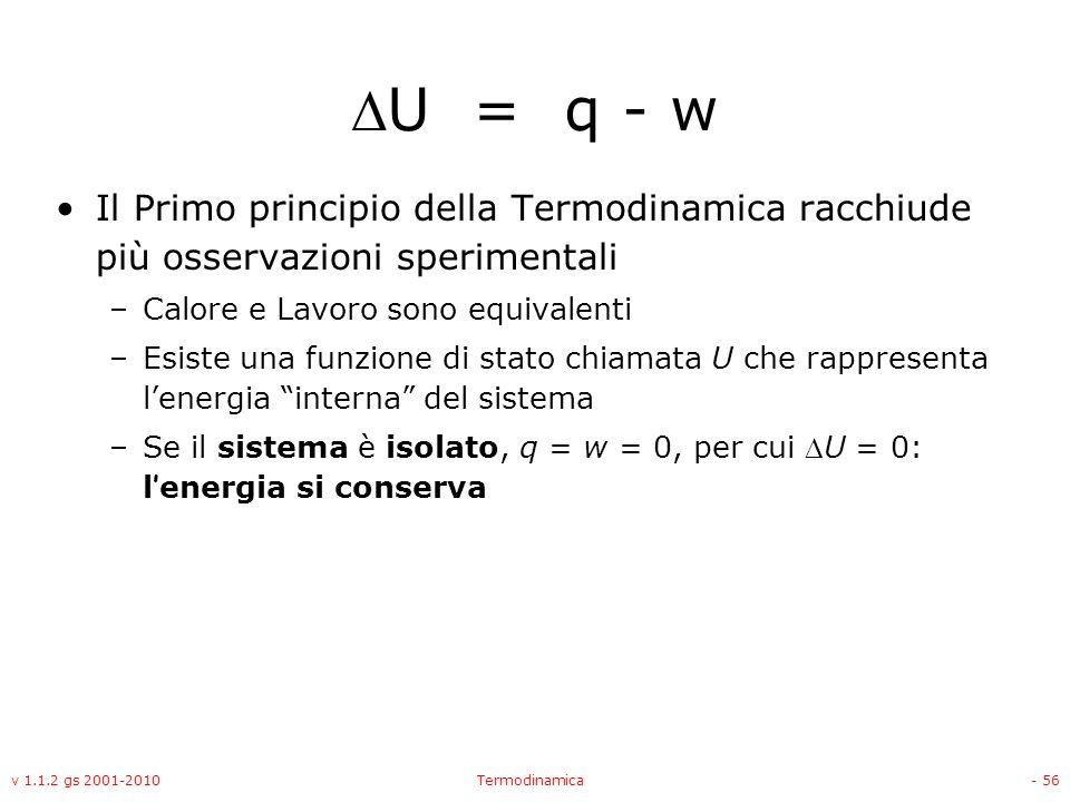 U = q - w Il Primo principio della Termodinamica racchiude più osservazioni sperimentali. Calore e Lavoro sono equivalenti.