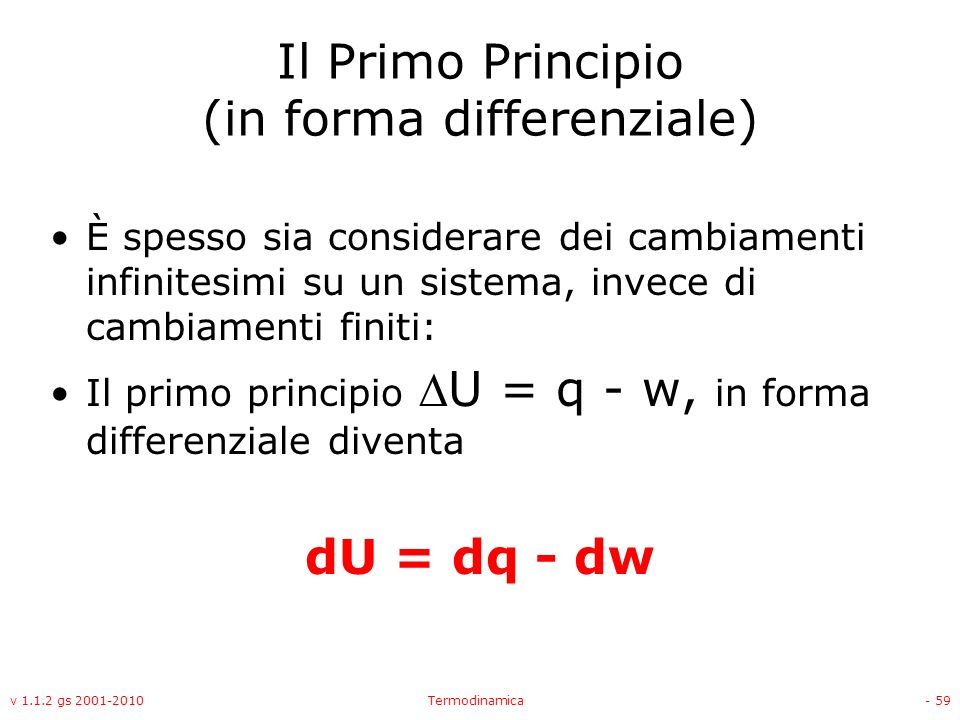 Il Primo Principio (in forma differenziale)
