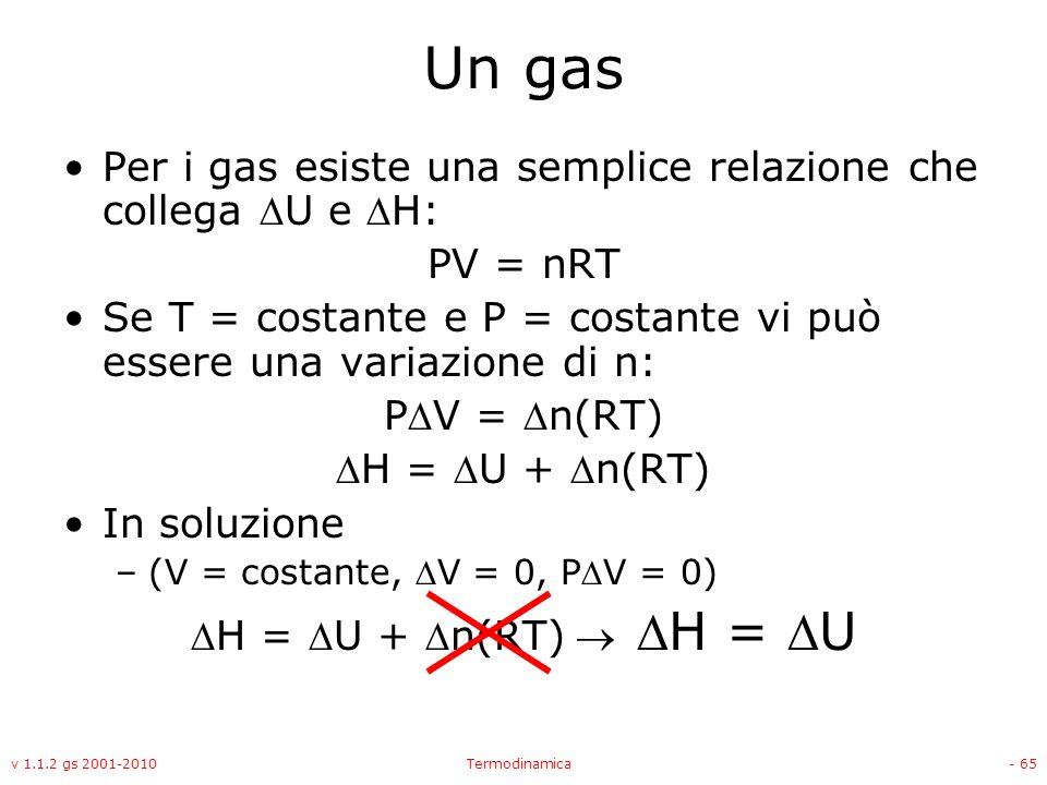 Un gas Per i gas esiste una semplice relazione che collega DU e DH: