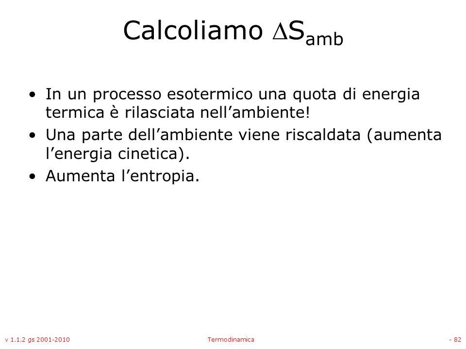 Calcoliamo Samb In un processo esotermico una quota di energia termica è rilasciata nell'ambiente!