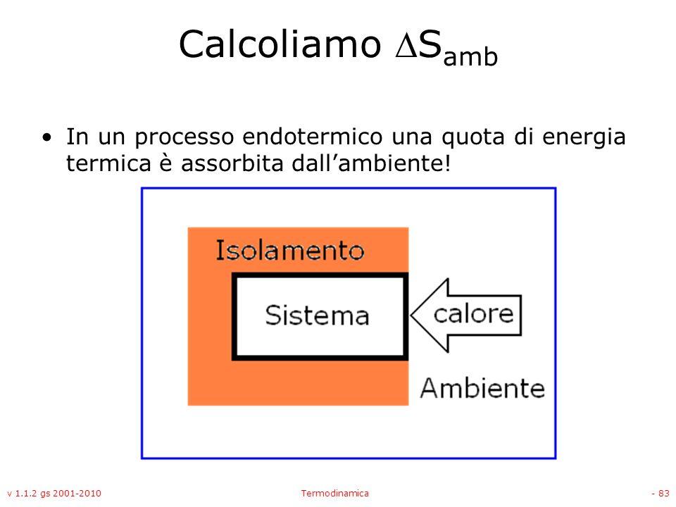 Calcoliamo Samb In un processo endotermico una quota di energia termica è assorbita dall'ambiente!