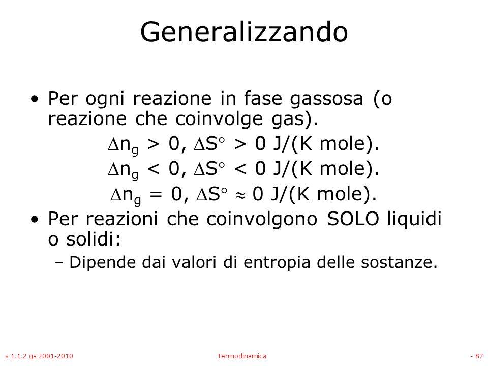 Generalizzando Per ogni reazione in fase gassosa (o reazione che coinvolge gas). ng > 0, S > 0 J/(K mole).