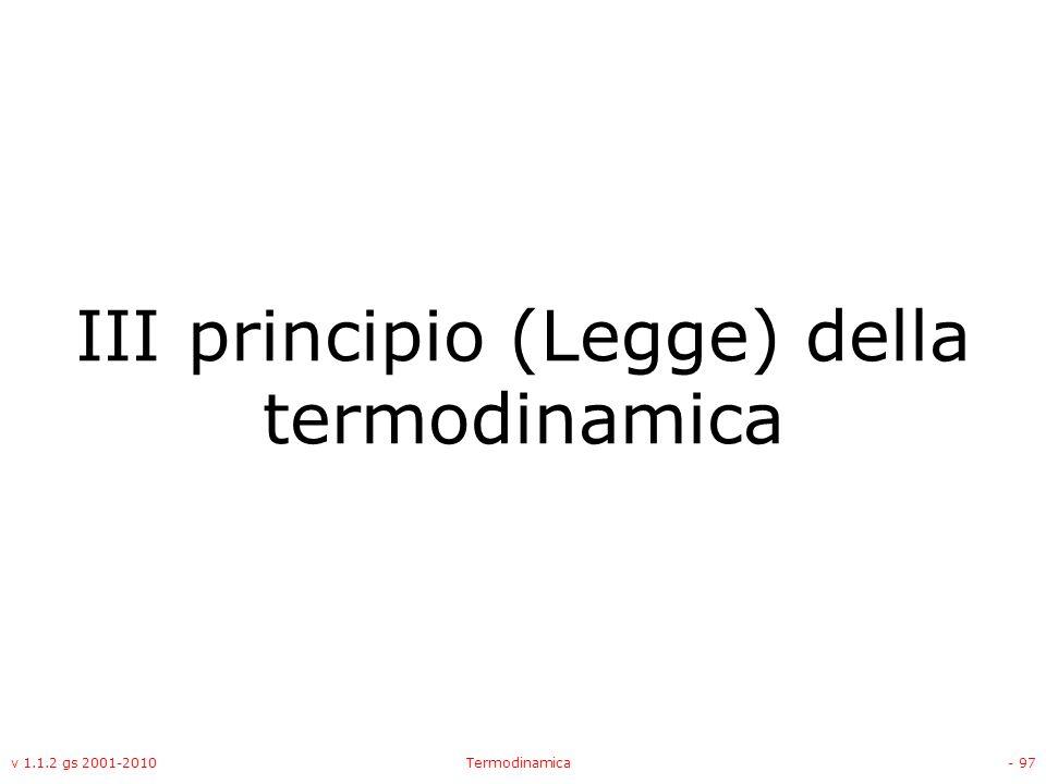 III principio (Legge) della termodinamica