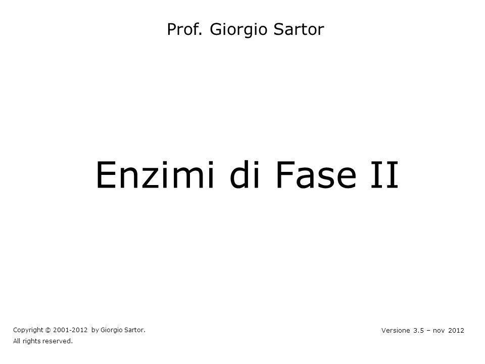 Enzimi di Fase II Prof. Giorgio Sartor Versione 3.5 – nov 2012