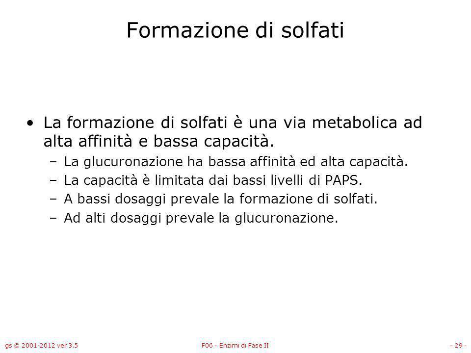 Formazione di solfati La formazione di solfati è una via metabolica ad alta affinità e bassa capacità.