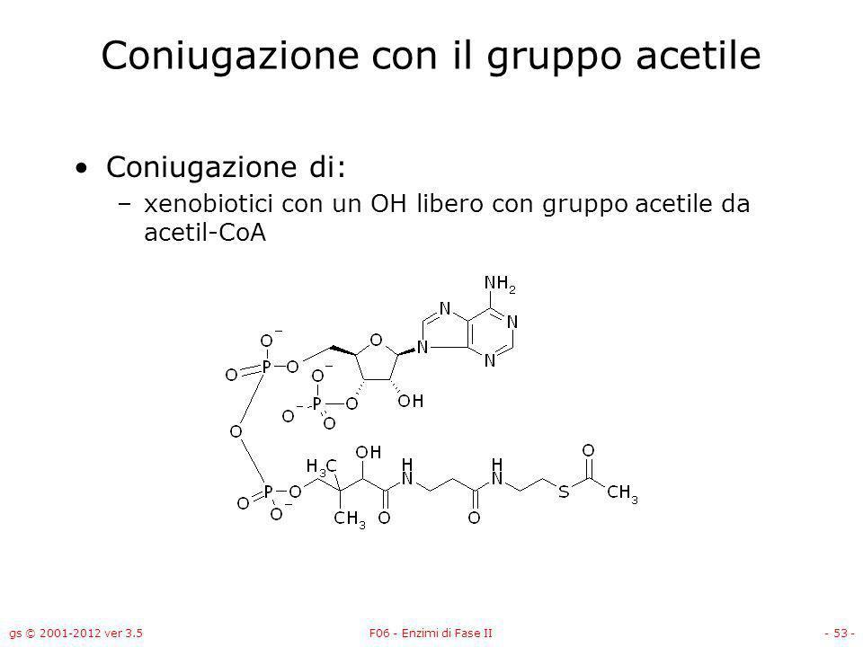 Coniugazione con il gruppo acetile