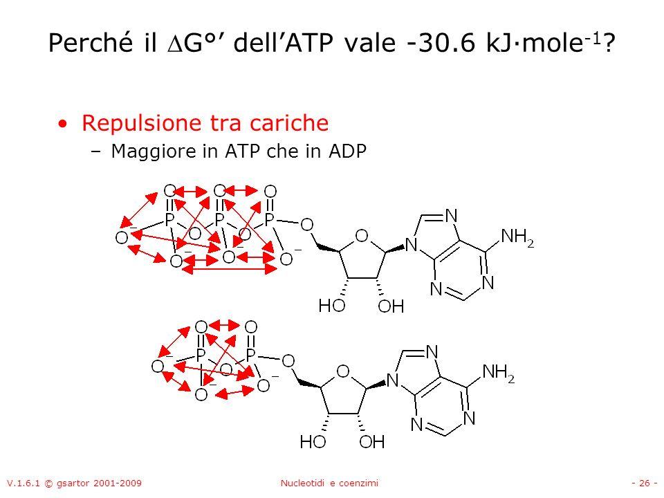 Perché il G°' dell'ATP vale -30.6 kJ·mole-1