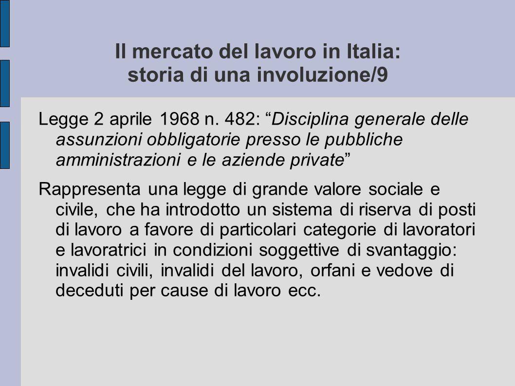 Il mercato del lavoro in Italia: storia di una involuzione/9