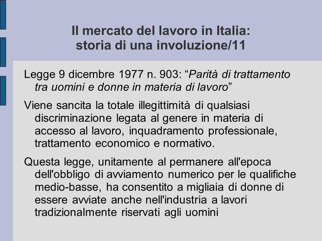 Il mercato del lavoro in Italia: storia di una involuzione/11