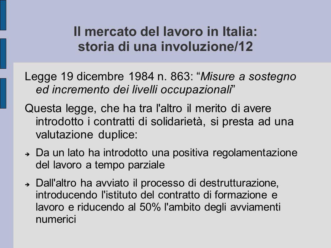 Il mercato del lavoro in Italia: storia di una involuzione/12