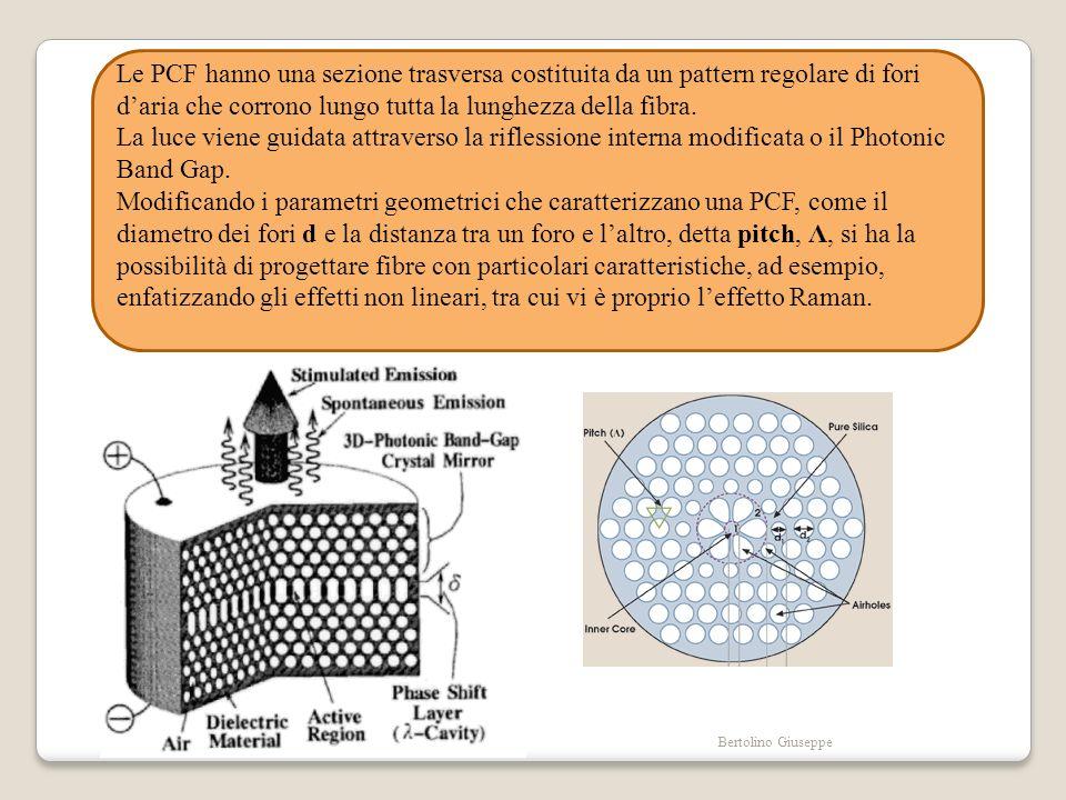 Le PCF hanno una sezione trasversa costituita da un pattern regolare di fori d'aria che corrono lungo tutta la lunghezza della fibra.