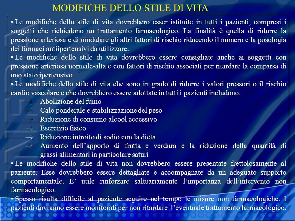 MODIFICHE DELLO STILE DI VITA