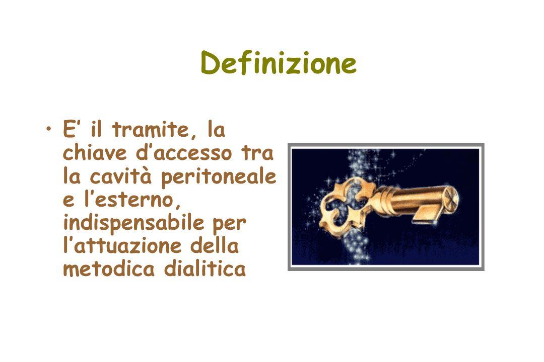 Definizione E' il tramite, la chiave d'accesso tra la cavità peritoneale e l'esterno, indispensabile per l'attuazione della metodica dialitica.