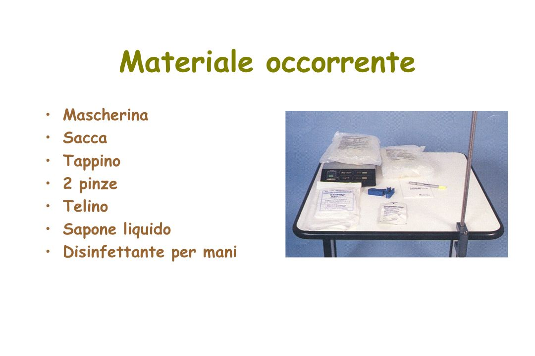 Materiale occorrente Mascherina Sacca Tappino 2 pinze Telino