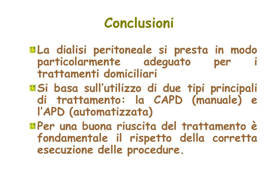 Conclusioni La dialisi peritoneale si presta in modo particolarmente adeguato per i trattamenti domiciliari.