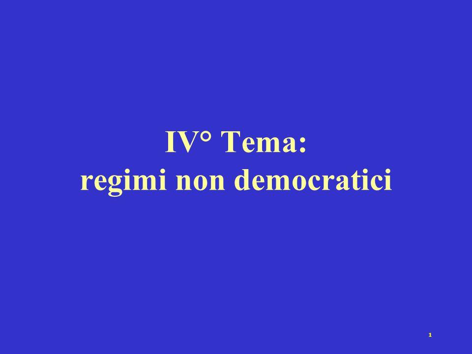 IV° Tema: regimi non democratici