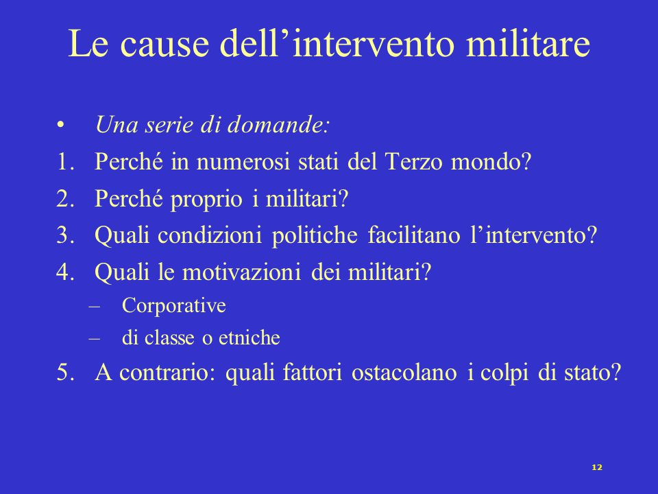 Le cause dell'intervento militare