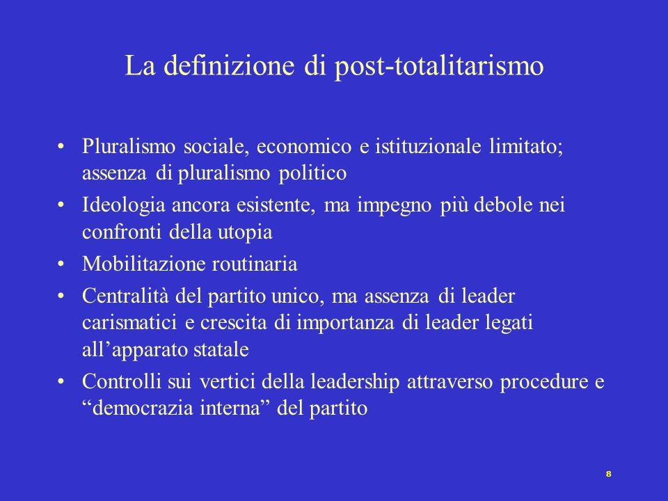 La definizione di post-totalitarismo