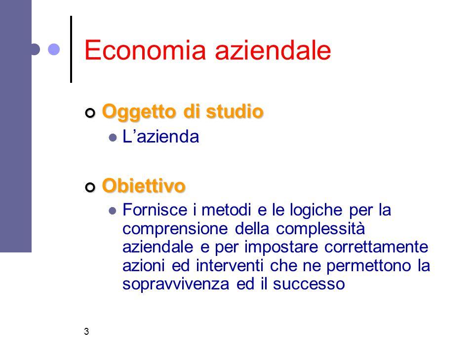 Economia aziendale Oggetto di studio Obiettivo L'azienda