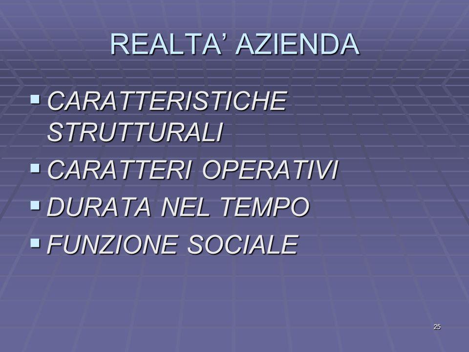 REALTA' AZIENDA CARATTERISTICHE STRUTTURALI CARATTERI OPERATIVI