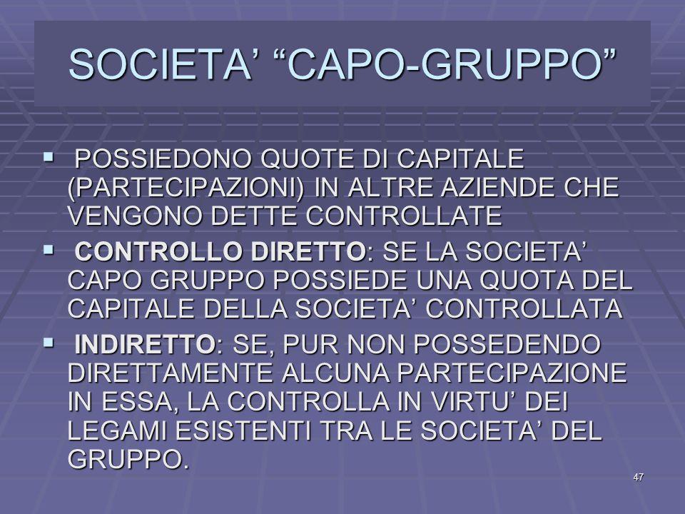 SOCIETA' CAPO-GRUPPO