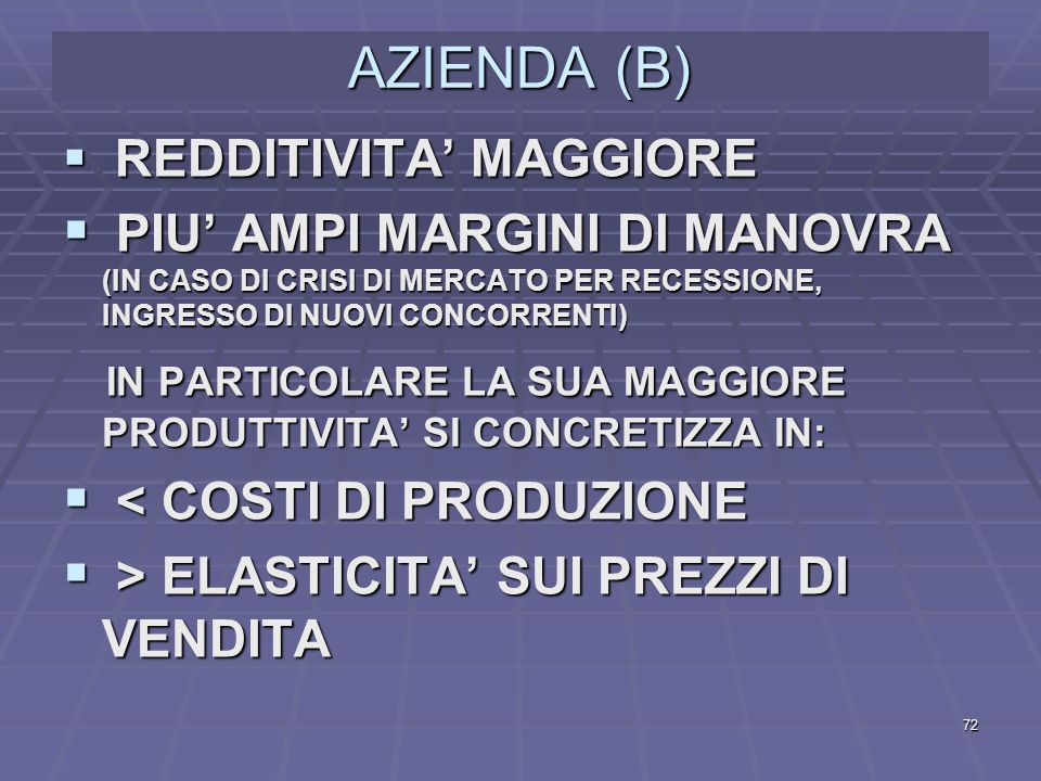 AZIENDA (B) REDDITIVITA' MAGGIORE. PIU' AMPI MARGINI DI MANOVRA (IN CASO DI CRISI DI MERCATO PER RECESSIONE, INGRESSO DI NUOVI CONCORRENTI)